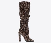 76 Overknee-Stiefel aus Wildleder mit Leoparden-Print