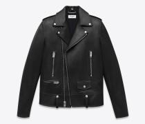 klassische jacke im motorradstil aus schwarzem leder