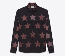 oversize-hemd aus schwarzer, gebleichter baumwolle und viskose mit spitzen taschen und sternendekor