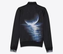 schwarze teddy-jacke mit moonlight print