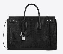 Weiche, große Sac de Jour-Tasche aus schwarzem Leder mit Krokodillederprägung