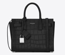 klassische nano sac de jour tasche aus schwarzem leder mit krokodilprägung