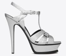 klassische tribute 105 sandale aus silberfarbenem metallic-leder mit echsenhautprägung