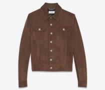 Jacke im Jeansjackenstil aus kaffeebraunem Veloursleder