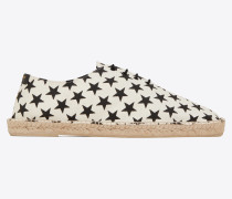 Laced espadrilles in star-print canvas