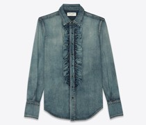 Classic Shirt With Ruffled Front In  Denim Blau