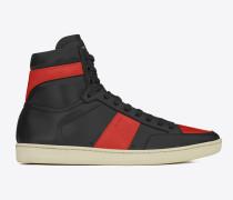 klassische signatur court sl/10h high top sneaker in schwarzem und rotem leder