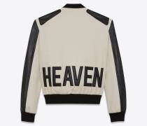 HEAVEN Varsity-Jacke aus kalkweißer Schurwolle und schwarzem Leder