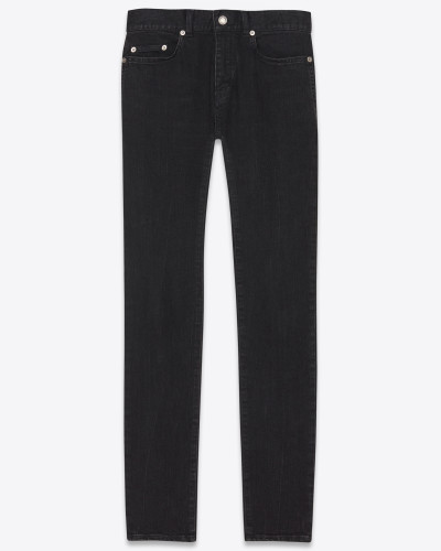 Skinny-Jeans mit abgenutzter Optik aus tiefschwarzem Stretchdenim