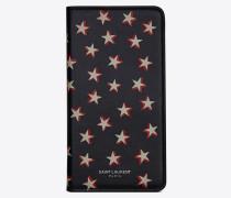 Etui für iPhone X aus Leder mit Überschlag und Sternenprint