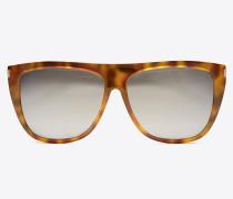 new wave 1 sonnenbrille mit glänzend havannabraunem acetat-gestell und silberfarbenen verspiegelten gläsern