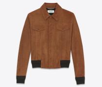 Jeansjacke aus cognacfarbenem Velours