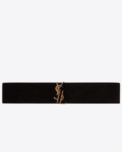 monogram dekonstruierter gürtel aus schwarzem veloursleder mit schnalle