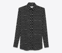 Hemd mit Paris-Kragen aus schwarzem und weißem Viskosetwill mit Lippenstiftprint