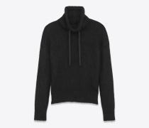 Pullover aus schwarzer Wolle und Mohair mit Hohlkragen