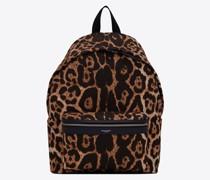 City Rucksack aus Canvas mit Leoparden-Print Beige