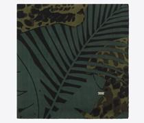 Quadratischer Schal aus Woll-Etamin mit Nächtlichem Dschungel-Leoparden-Motiv Grün