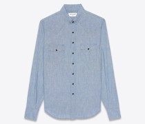 Westernhemd aus Chambray In Dirty Light Blue mit Stonewash-Effekt Blau