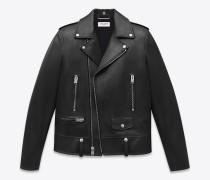 klassische jacke im motorcycle-stil  aus schwarzem leder