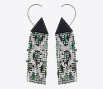 SMOKING Ohrringe aus Messing mit Kunstharzdreieck und weißen, grünen und schwarzen Kristallen