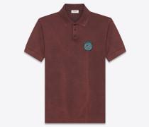 """Poloshirt mit """"MOUJIK""""-Patch aus verwaschen burgunderrotem Baumwollpiqué"""