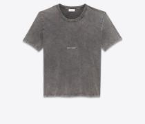 T-Shirt aus ausgebleichtem schwarzem Destroy-Jersey mit Saint Laurent-Quadrat