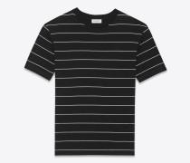 kurzärmeliges t-shirt aus baumwolljersey mit schwarzem und elfenbeinfarbenem streifenprint
