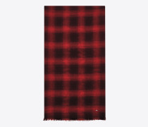 signature knitterschal aus schwarzem und rotem flanell aus wolle, kaschmir und seide mit karojacquard