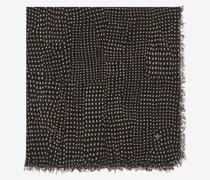 Gepunkteter Großer Quadratischer Schal aus Woll-Etamin Schwarz