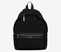 City Mini-Rucksack aus Canvas Schwarz