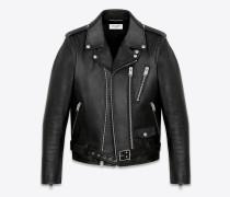 signatur motorcycle jacke aus schwarzem gewaschenem leder
