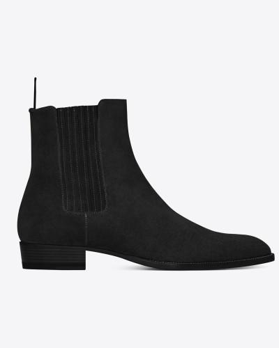 Wyatt 30 Chelsea-Stiefel aus schwarzem Veloursleder