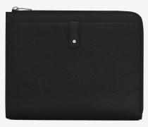 Sac de Jour Tablet-Etui aus schwarzem Narbenleder