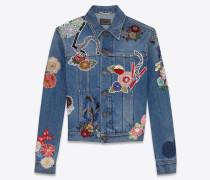 original jeansjacke mit love-stickerei in original used vintage 80er-blau