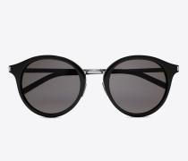 klassische 57 sonnenbrille mit gestell aus glänzend schwarzem acetat und glänzend silberfarbenem stahl und grauen gläsern