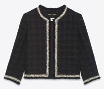Kurze Jacke aus Woll- Seiden-Tweed mit Karomuster Schwarz
