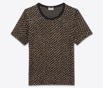 schwarzes t-shirt mit transparenten ärmeln und goldfarbenen tupfen