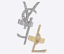 monogram set dekonstruierte ringe in grau, gold und kristall