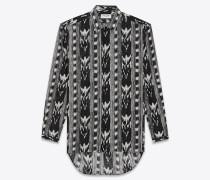 Langes Hemd aus schwarzem Baumwollvoile mit Ikatprint und Yves-Kragen