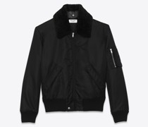 Bomber Army In Nylon And Shearling Schwarz