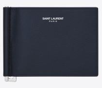 klassisches saint laurent portemonnaie mit geldscheinclip aus marineblauem leder mit grain de poudre struktur