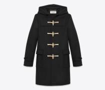 klassischer dufflecoat aus schwarzer wolle