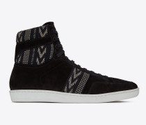 court classic sl/10h sneakers aus schwarzem velours mit ikatmotiv
