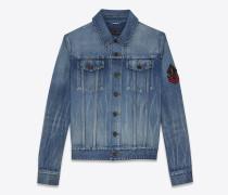 jeansjacke mit army-ysl-patch in original blue-shadow-waschung