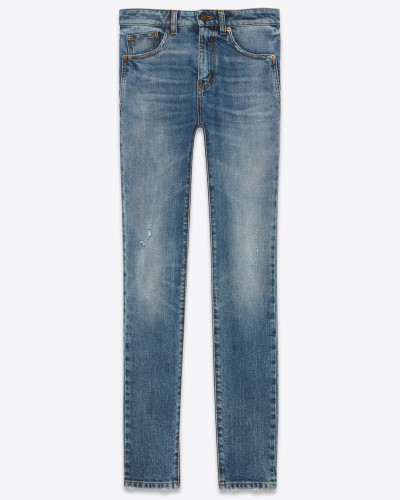 Skinny-Jeans aus mediumblauem Denim mit abgenutzter Optik