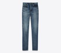 slim-jeans mit mittlerer leibhöhe aus mittelblauem denim mit stickerei