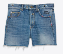 Slim-Shorts aus blauem Vintage-Denim mit Stickerei