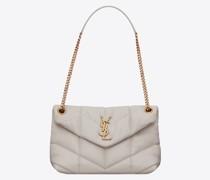 Kleine Puffer Tasche aus Gestepptem Lammleder Weiß