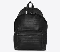 klassischer jägerrucksack aus schwarzem geprägtem leder mit krokodilledereffekt