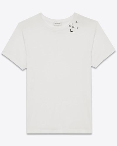 kurzärmeliges punk rock t-shirt aus elfenbeinfarbenem und schwarzem baumwolljersey mit mond- und sterneprint